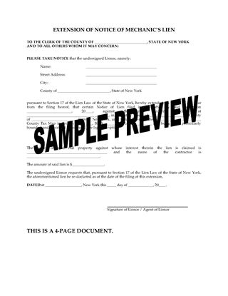 Picture of New York Extension of Notice of Mechanic's Lien