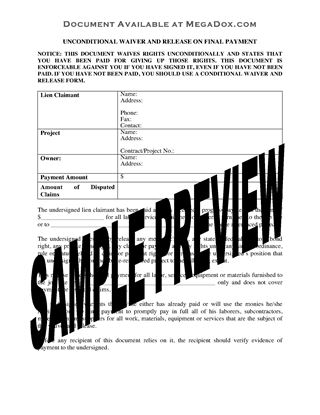 Picture of Pennsylvania Unconditional Waiver and Release of Lien Upon Final Payment