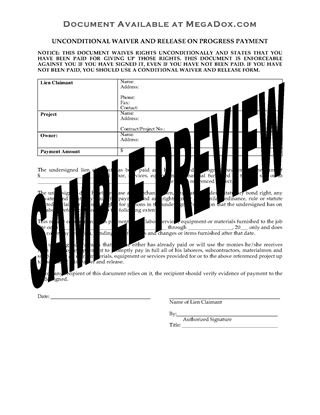 Picture of Pennsylvania Unconditional Waiver and Release of Lien Upon Progress Payment