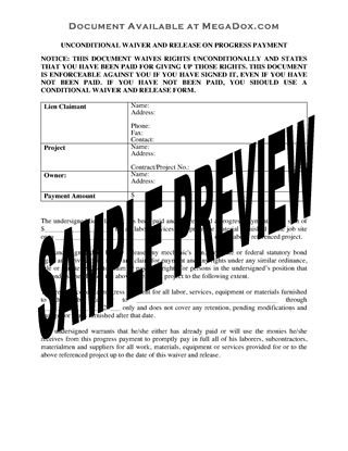 Picture of South Carolina Unconditional Waiver and Release of Lien on Progress Payment
