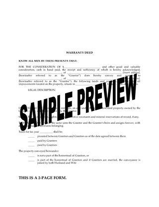 Picture of Arkansas Warranty Deed Form