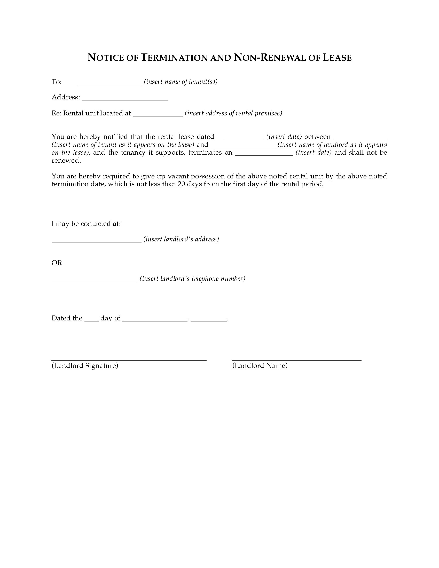 washington notice of termination by landlord and non renewal of lease legal forms and business. Black Bedroom Furniture Sets. Home Design Ideas