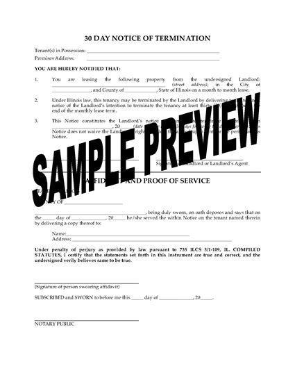 Picture of Illinois 30 Day Termination Notice