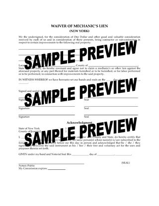 Picture of New York Waiver of Mechanic's Lien