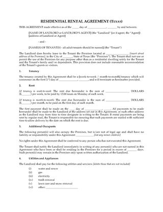 Picture of Texas Rental Agreement for Residential Premises