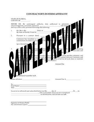Picture of Florida Interim Affidavit of Contractor