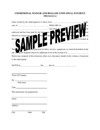 Picture of Minnesota Lien Waiver and Release Forms Package