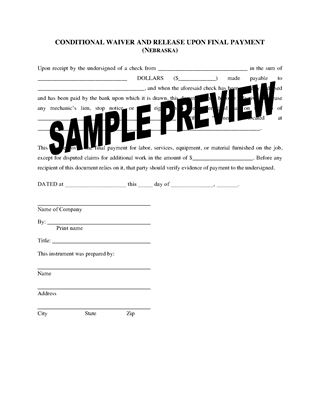 Picture of Nebraska Lien Waiver and Release Forms Package