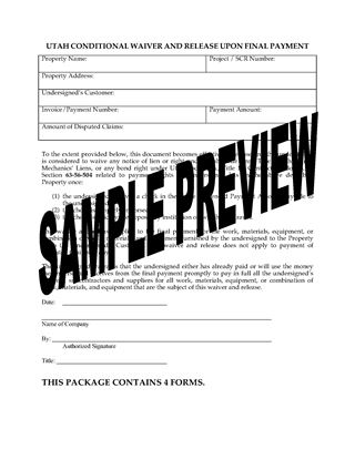 Picture of Utah Lien Waiver and Release Forms Package