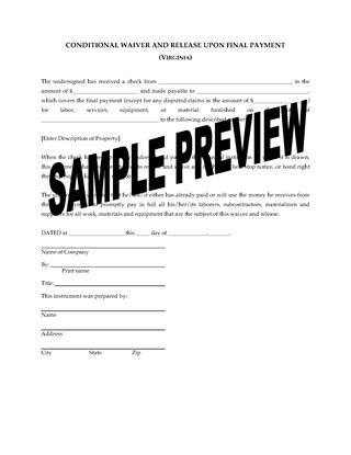 Picture of Virginia Lien Waiver and Release Forms Package
