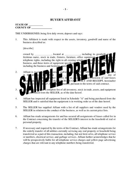 Picture of USA Affidavit of Purchaser of Business Assets