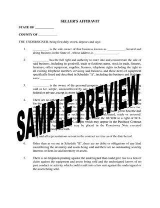 Picture of USA Affidavit of Seller of Business Assets