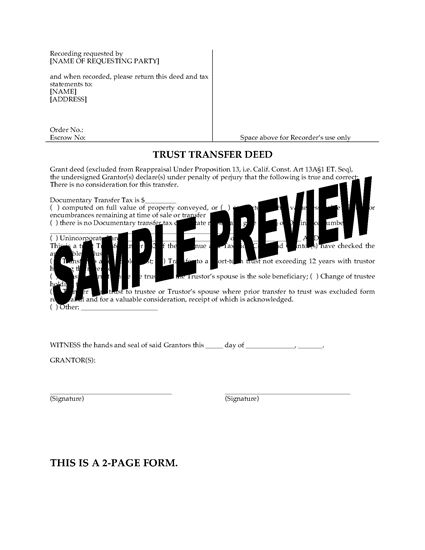 Picture of California Trust Transfer Deed