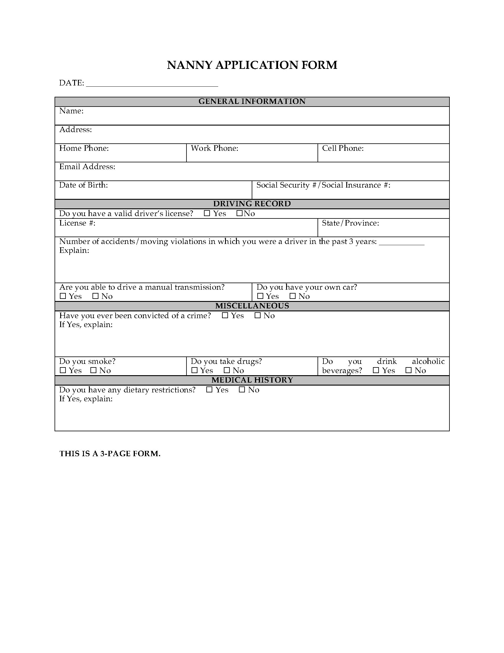 nanny employment application form legal forms and. Black Bedroom Furniture Sets. Home Design Ideas