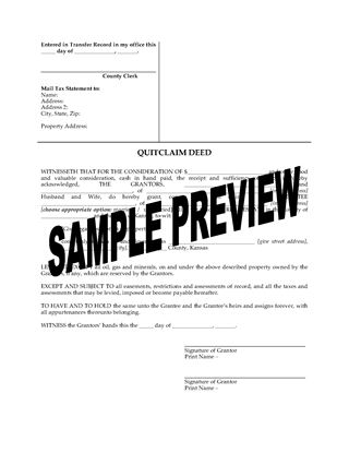 Picture of Kansas Quitclaim Deed from Husband and Wife to Individual