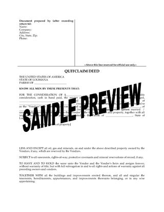 Picture of Louisiana Quitclaim Deed from Husband and Wife to Individual