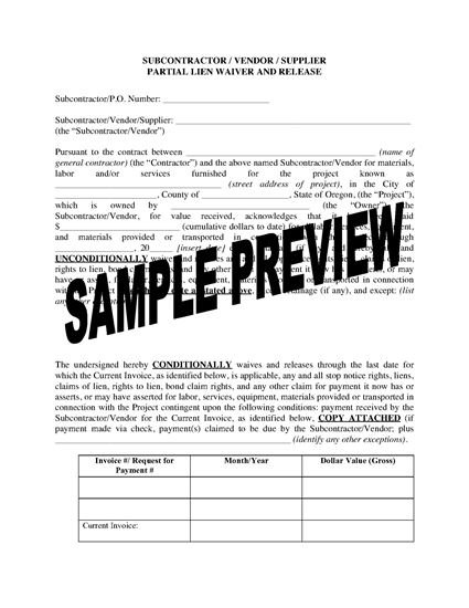 Picture of Oregon Subcontractor / Vendor / Supplier Lien Waiver and Release Forms