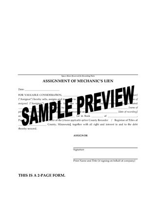 Picture of Minnesota Assignment of Mechanics Lien