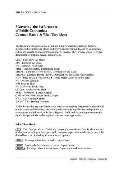 Picture of Measuring the Performance of Public Companies