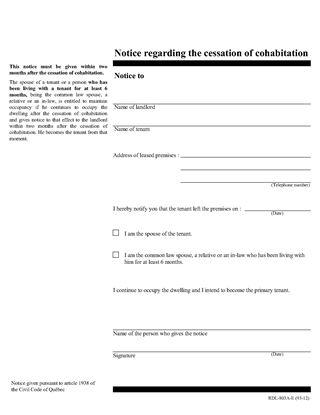 Picture of Quebec Notice Regarding Cessation of Cohabitation