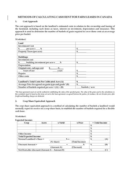 Picture of Canada Methods of Calculating Cash Rent for Farm Leases