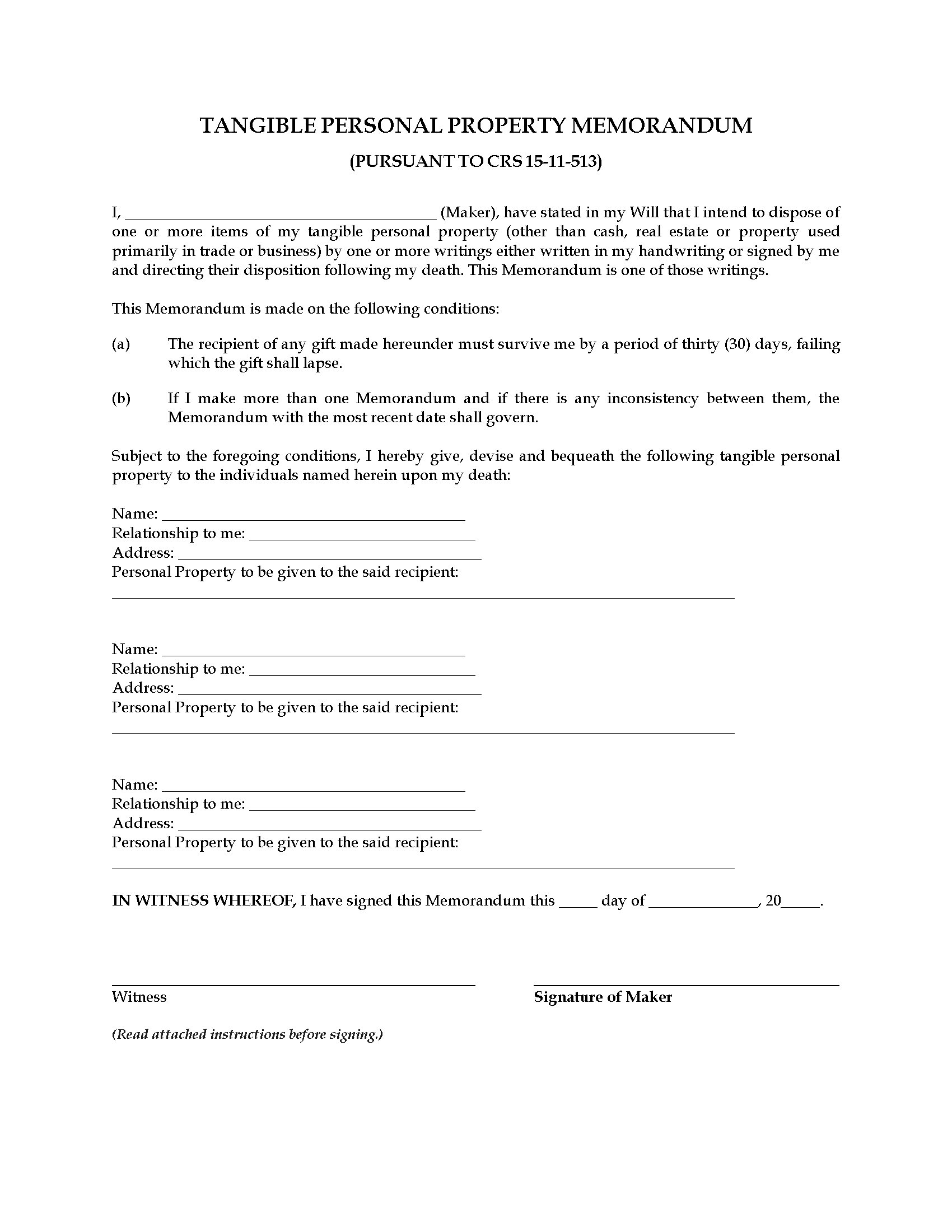 colorado tangible personal property memorandum legal forms and picture of colorado tangible personal property memorandum