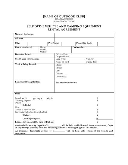 BC Rental Agreement For Camping Gear And Vehicle