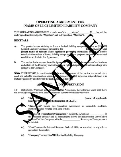 Picture of LLC Operating Agreement for Real Estate (USA)