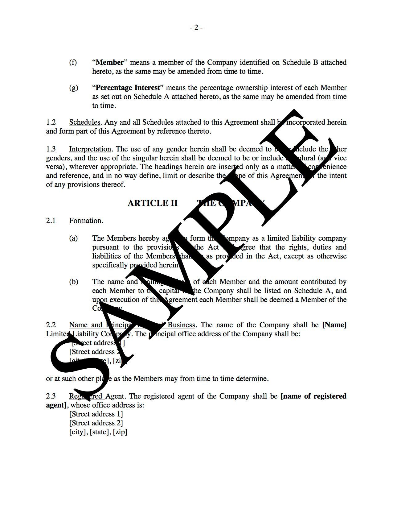 LLC Operating Agreement for Real Estate Development | Legal Forms ...