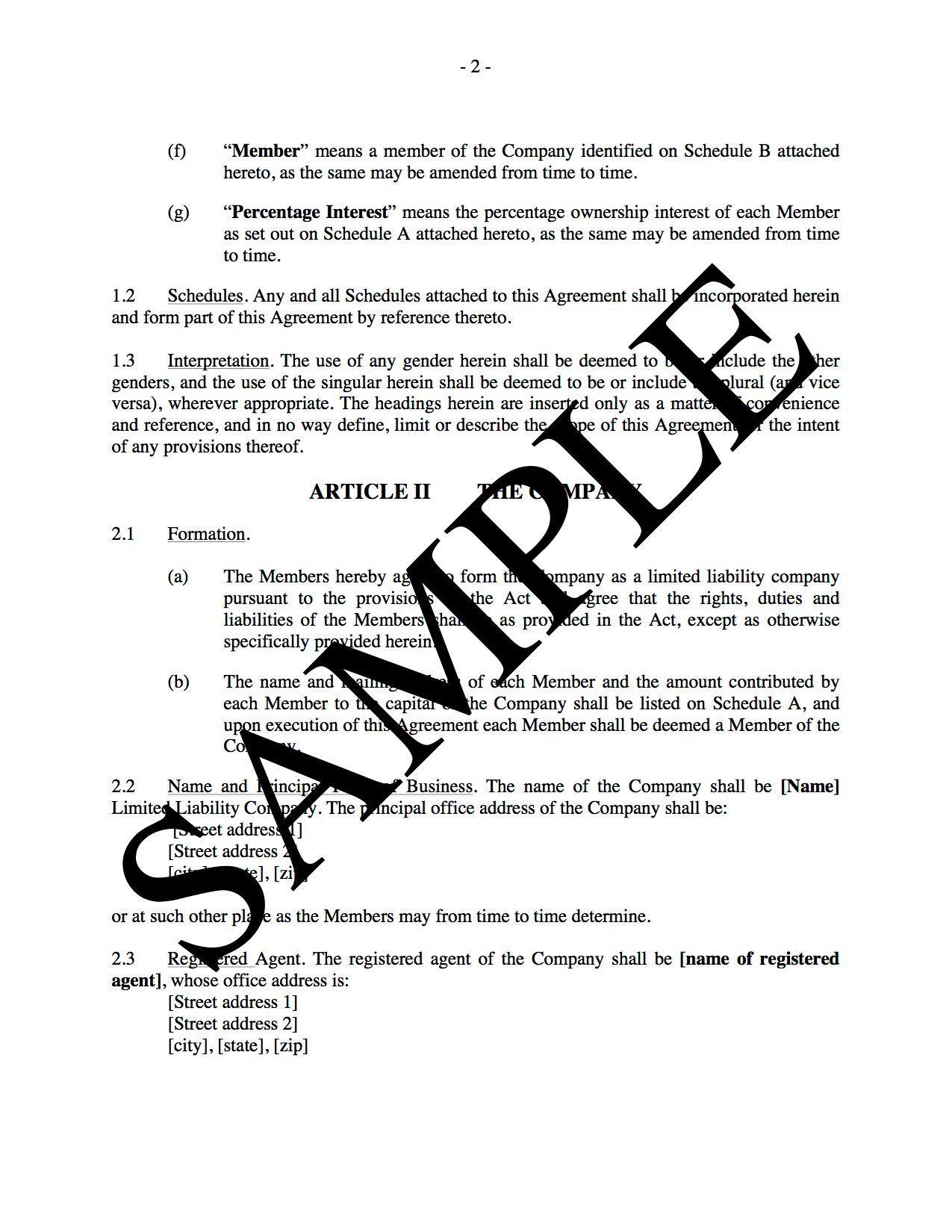LLC Operating Agreement For Real Estate Development