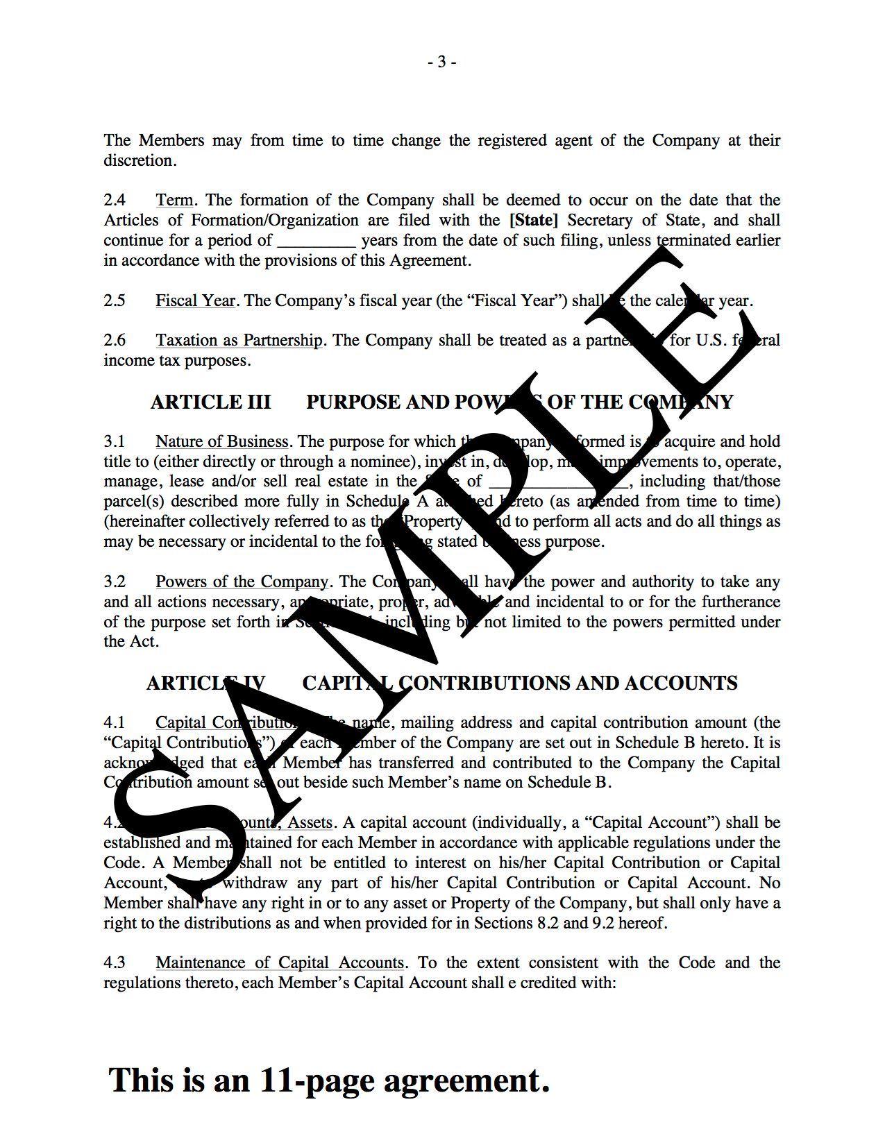 florida llc operating agreement sample - llc operating agreement for real estate development