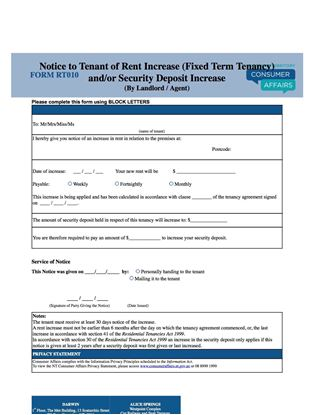 Picture of Northern Territory Notice of Rent or Security Deposit Increase