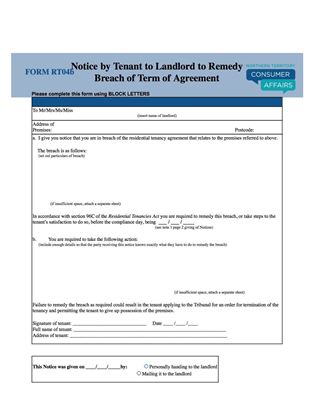 NT notice to remedy breach