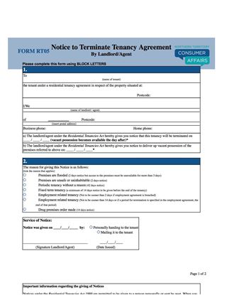 northern territory notice to terminate