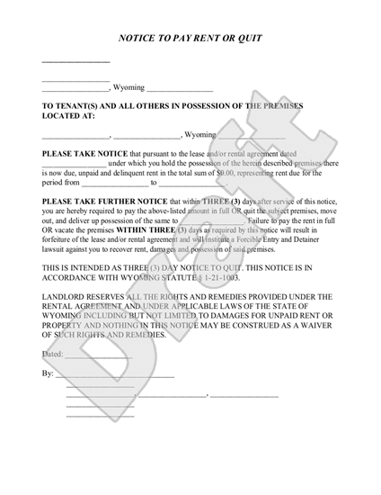Wyoming notice to pay rent or quit legal forms and for Notice to pay rent or quit template