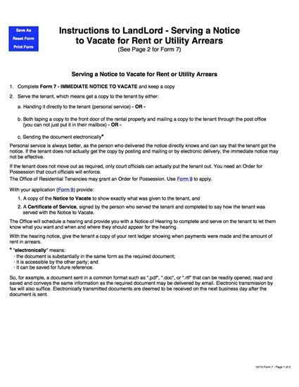 saskatchewan notice to vacate form 7