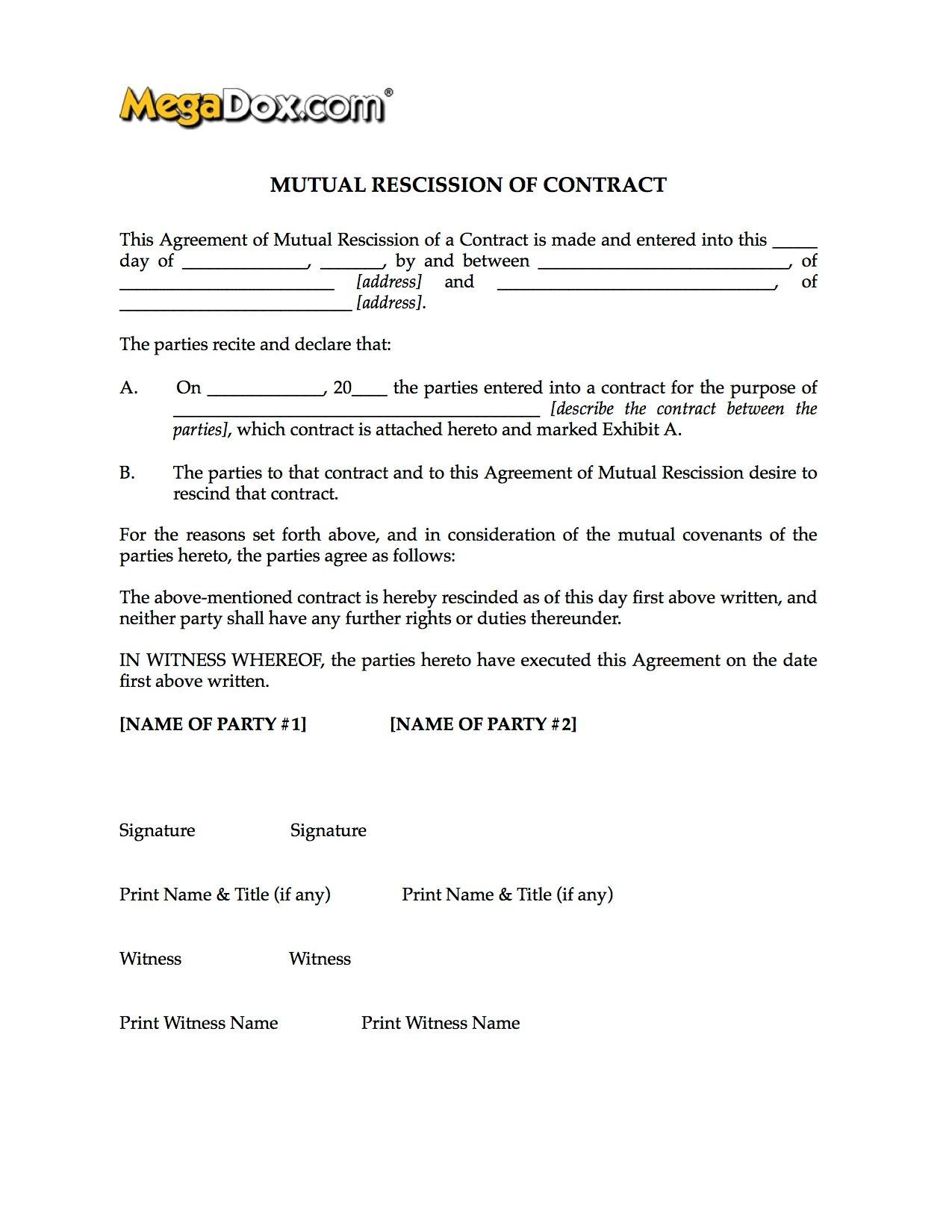mutual rescission of contract form legal forms and business mutual rescission of contract form