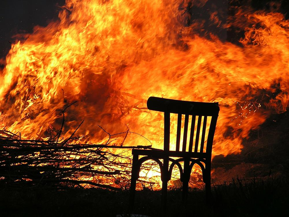 fire and chair