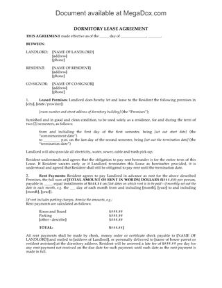 Picture of Dormitory Lease Agreement