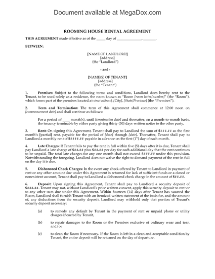 Picture of Rooming House Rental Agreement
