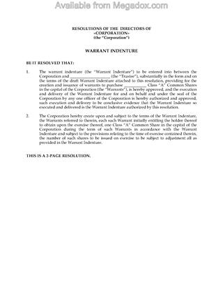 Picture of Alberta Directors Resolutions Authorizing Warrant Indenture