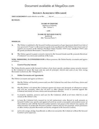 Picture of Ontario Purchase Money Security Agreement