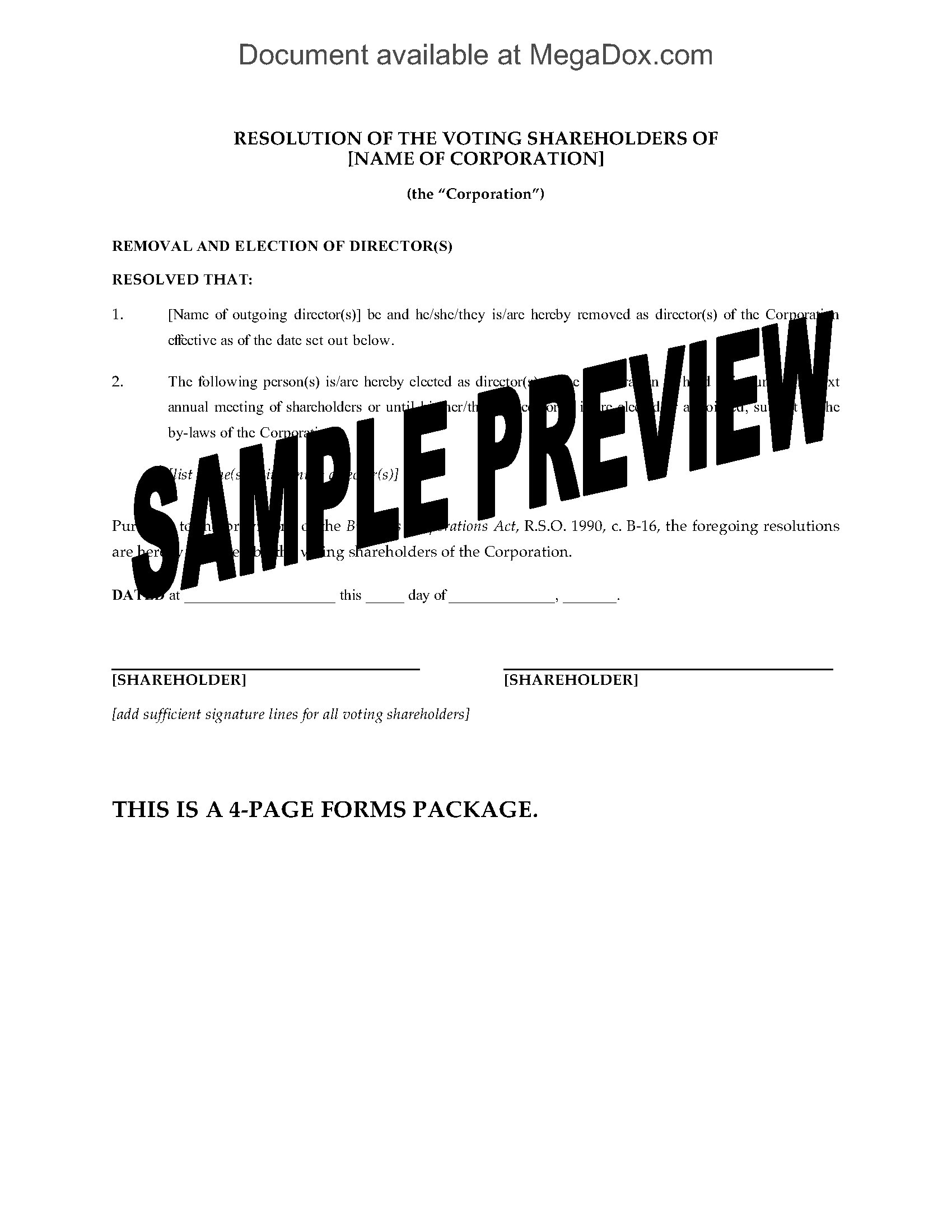 Ontario Corporate Documents For Appointing And Removing Directors - Corporation legal documents