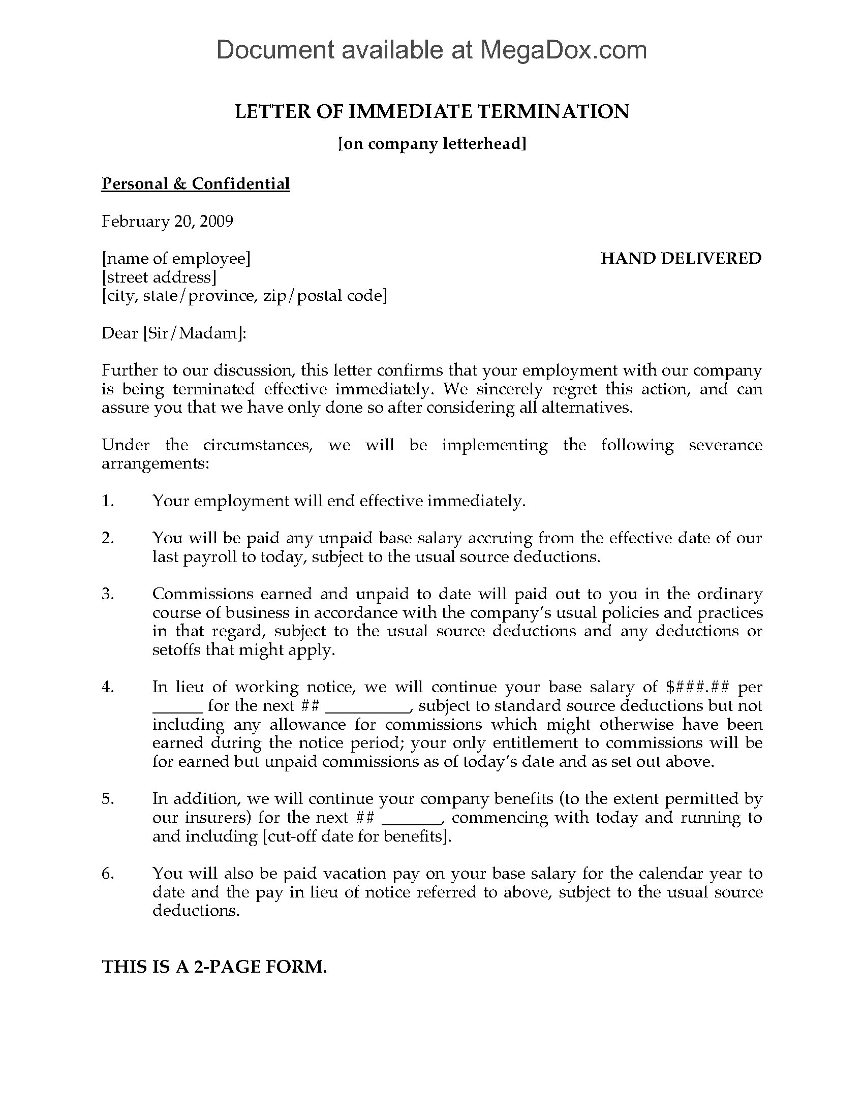 Letter Of Immediate Termination Of Employment