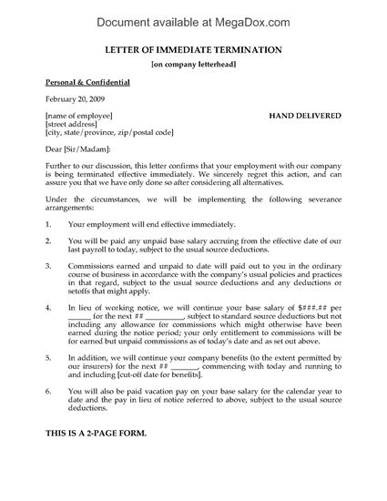 Picture of Letter of Immediate Termination of Employment