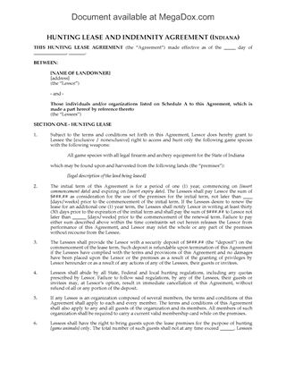 Hunting And Fishing Leases | Legal Forms And Business Templates