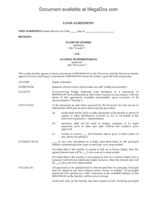 Picture of Ontario Loan Agreement for Non-Revolving Bridge Financing
