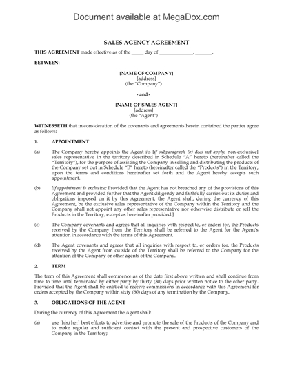 Picture of Sales Agency Agreement | Canada