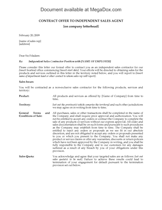 Picture of Contract Offer to Independent Sales Agent | Canada