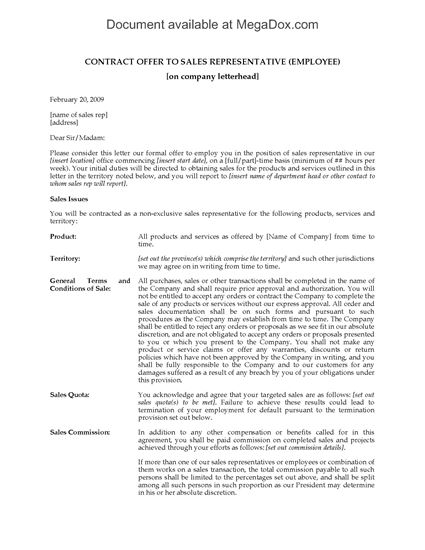Picture of Contract Offer to Hire Sales Representative as Employee | Canada